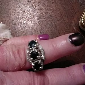 Art deco sapphire and diamond ring in 10kt wg